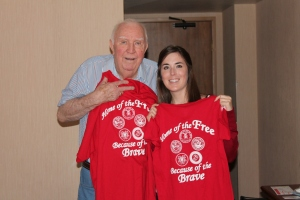 """Grandpa & I with the matching shirts I bought for us at Arizona StandDown.  (Polo for him, V-neck for me.)  They say """"Land of the Free, Because of the Brave!"""" on the back, with the symbols for all of the armed forces.  On the front it says """"Thank You Troops.""""  The proceeds went to funding the next Arizona StandDown!"""
