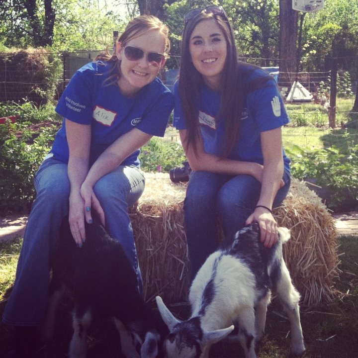 Unfortunately the photographer cut the goats' heads off, but we look cute!