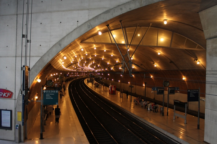 Oops--first, a look inside the Monte Carlo train station, which is built inside of a mountain.