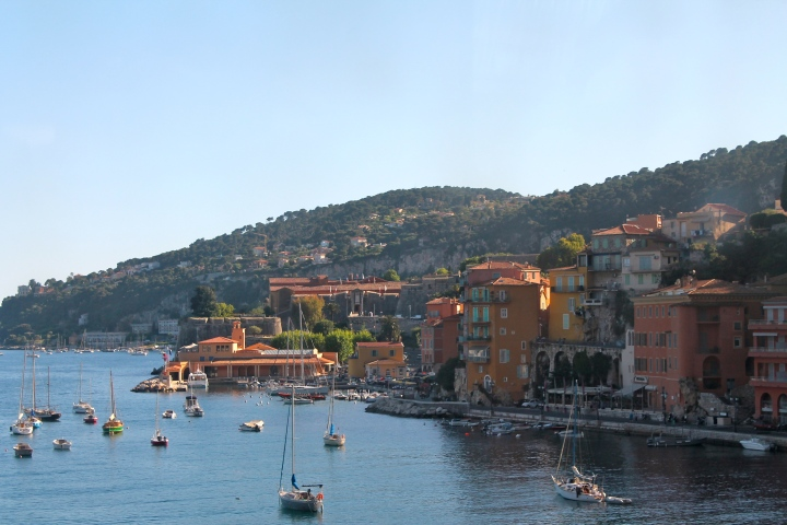Villefranch-sur-Mer, the only sandy beach east of Nice, in the Riviera.