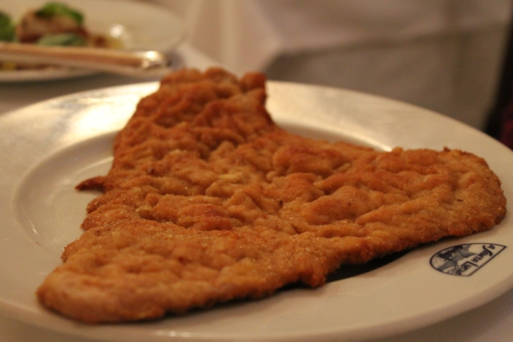 Cotaletta Milanese-- basically a thin piece of veal, breaded, and fried.  My mom liked the first 50 bites but then got a bit sick of it toward the end because it was HUGE!
