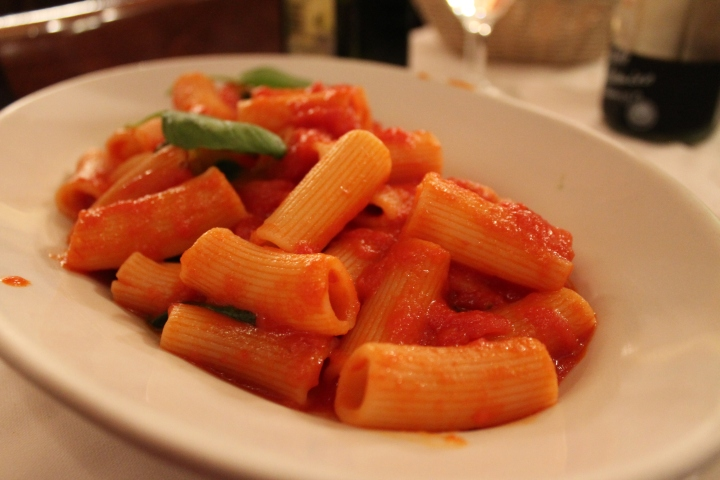 Some sort of pasta in tomato sauce? haha I forgot what it was called!