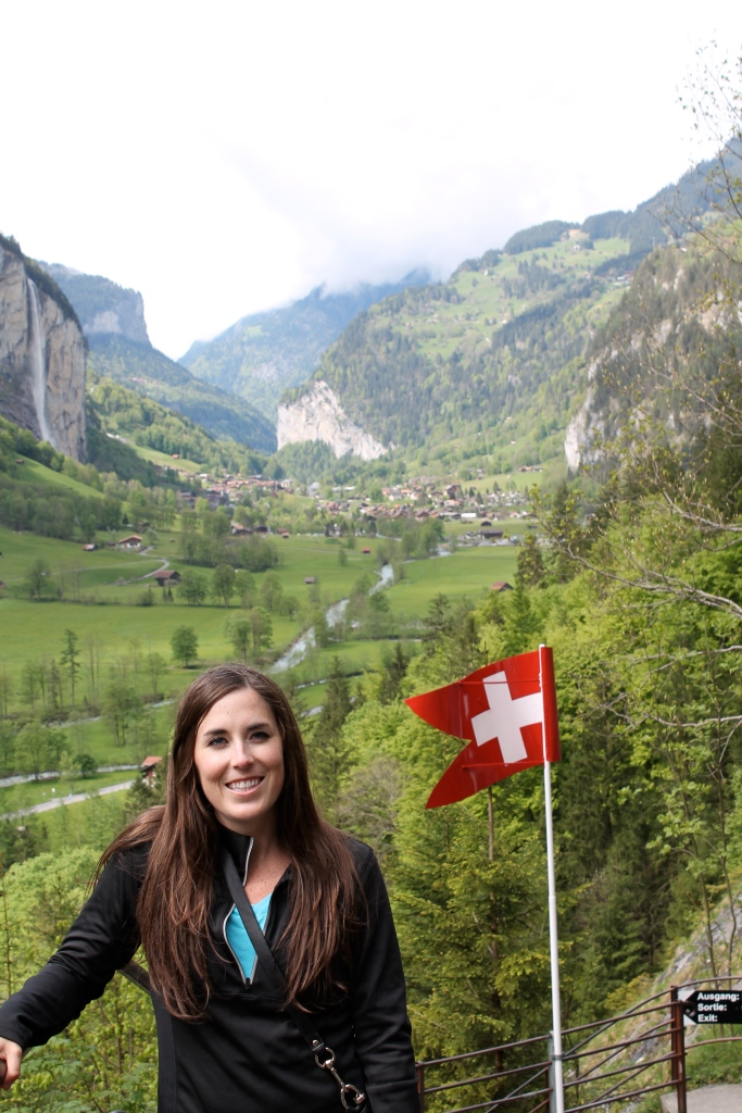 Near the entrance, with Lauterbrunnen behind me!