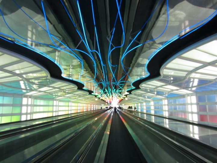I was obsessed with the lights above the moving walkway in the airport