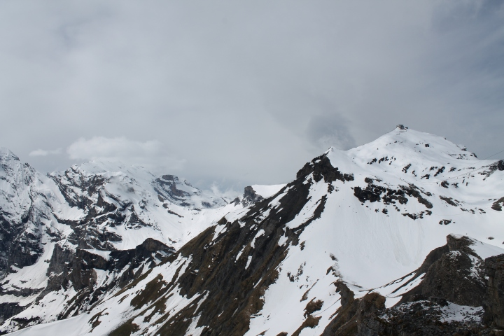 Way up on the right is the Schilthorn look out that we were at.