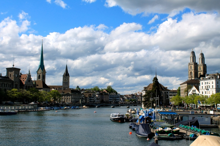 Classic view of Zurich, with the Fraumunster on the left & Grossmunster on the right!