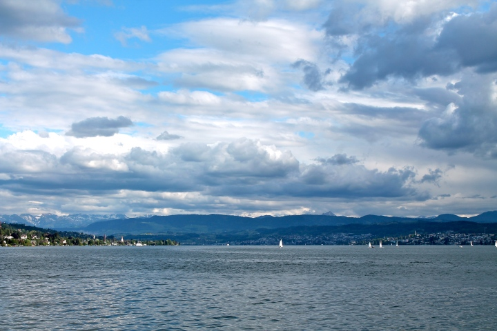Looking across Lake Zurich from Zurich Horn