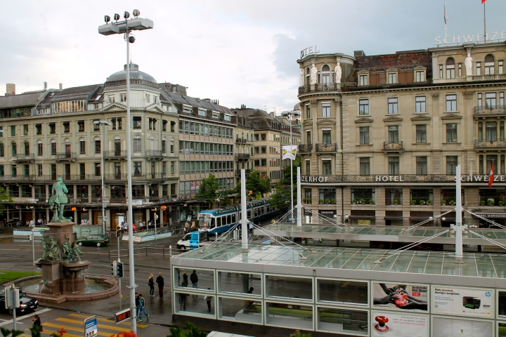 View from the lounge, looking into the main plaza in front of the station