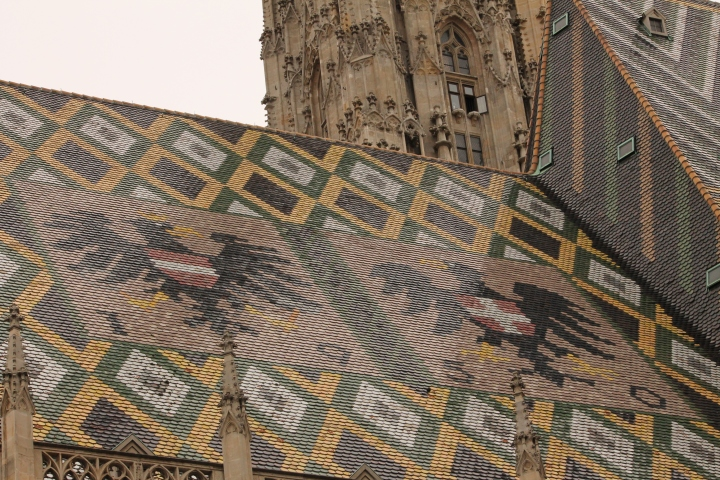 Vienna Cathedral was the first church I have seen with shiny tiled roofs, showing crests & other illustrations!