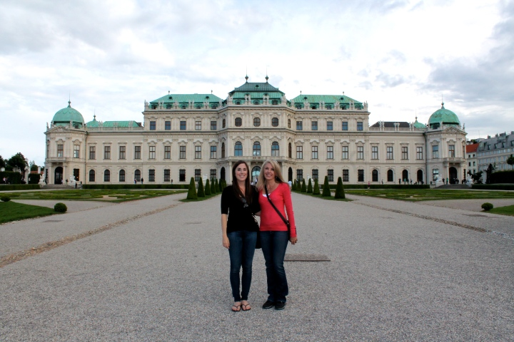 Standing in front of Belvedere