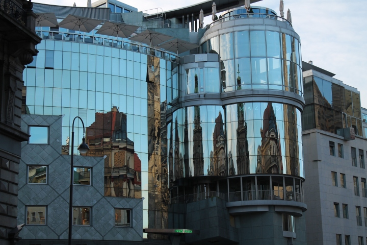 This modern building is directly across from the old Vienna Cathedral, so it's pretty controversial. (You can sort of see the cathedral in the reflection.)