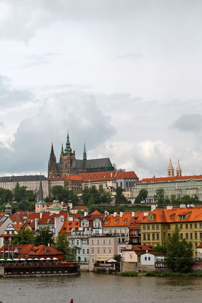 View of Prague Castle from the start of St. Charles Bridge