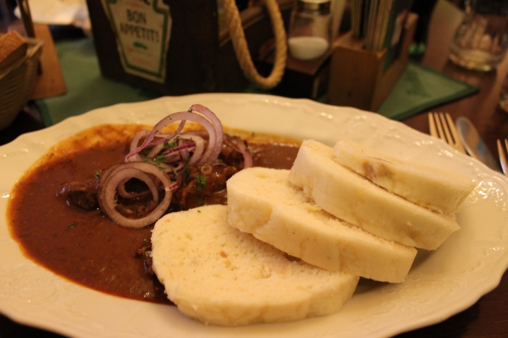 Goulash & dumplings! (Dumplings in Prague are basically pieces of white wonder bread!)