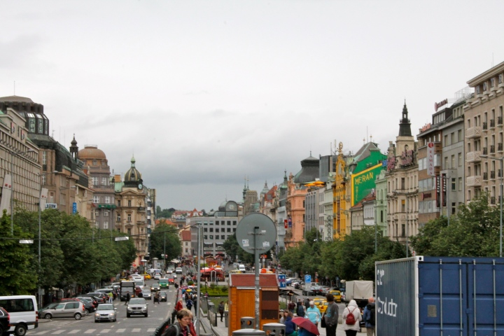 Looking back down through Wenceslas Square, from the opposite direction