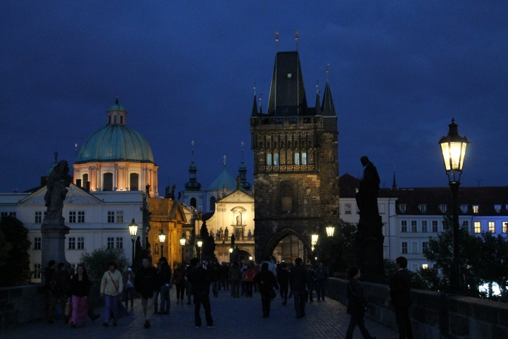 Looking through the other end of St. Charles Bridge, back into Old Town