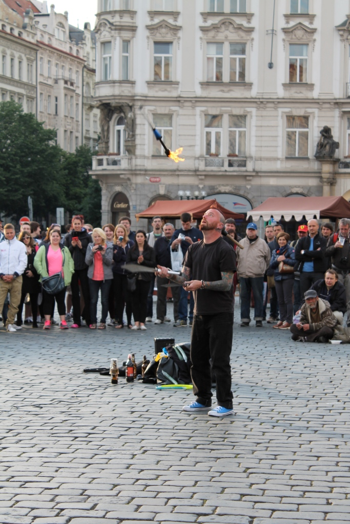 We watched a super creepy street performer for about a half hour.