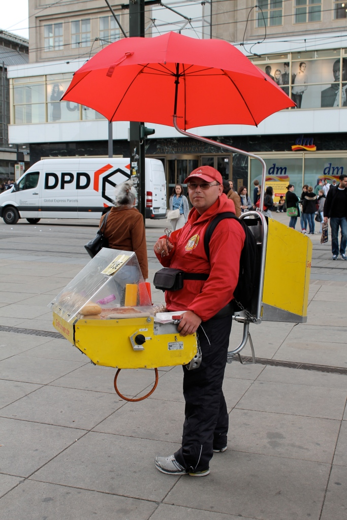 One man hot dog stand!