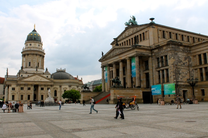 German Cathedral and the Opera House. The French Cathedral is identical to the German Cathedral, and behind me in the photo