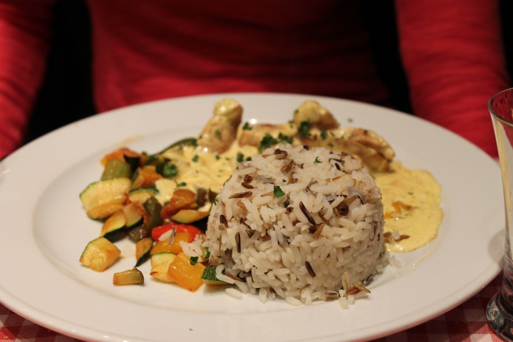 Mom's chicken & rice pilaf dish. She was really trying to sample the local cuisine with this meal....not! ;) She stopped being adventurous after the meatloaf spam in Zurich lol.