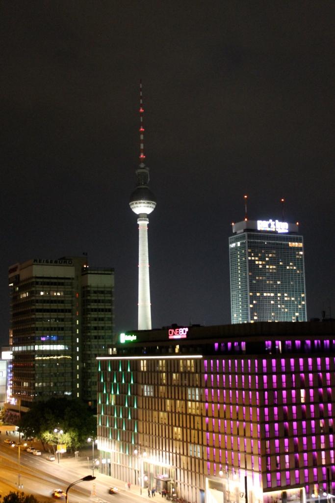 "TV Tower ""Alex"" & Alexanderplatz area at night"