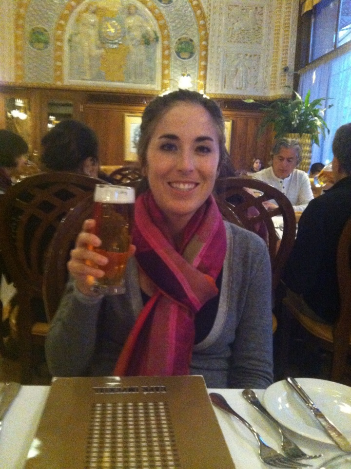 Me trying Prague's infamous local beer!