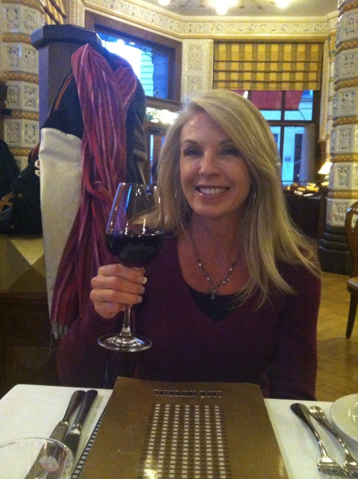 Mom trying Prague's local wine!